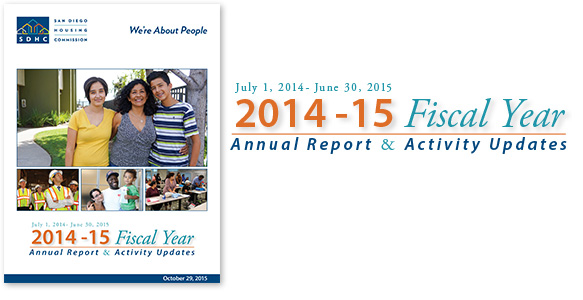 <span>SDHC 2014-15 Fiscal Year Annual Report</span><br>SDHC's multimedia 2014-15 Fiscal Year Annual Report & Activity Updates highlights SDHC's accomplishments, as well as plans for the future. Important activities right up to the date of publication are also included. <u>Read the Report</u>