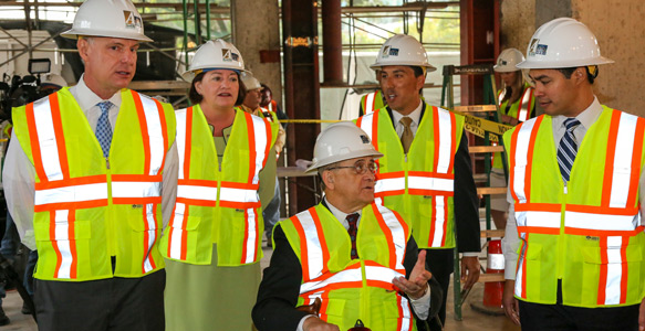 <span>HUD Secretary Tours Hotel Chuchill</span><br>U.S. Department of Housing and Urban Development Secretary Julián Castro toured the historical Hotel Churchill, an SDHC partnership that will provide 72 permanent affordable housing studios for homeless San Diegans. Watch Video 10.19.15.