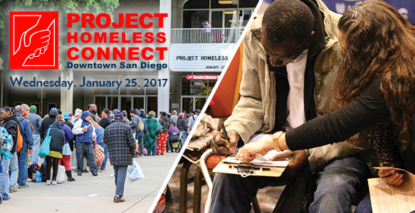 <span>Project Homeless Connect</span><br>The 11th Project Homeless Connect – Downtown San Diego will be held on Wednesday, January 25, 2017. SDHC is the lead organizer for the one-day resource fair for homeless San Diegans. Volunteer, provide a service, or make a donation.