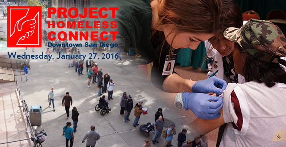 <span>Project Homeless Connect</span><br>The 10th Project Homeless Connect – Downtown San Diego will be held on Wednesday, January 27, 2016. SDHC is the lead organizer for the one-day resource fair for homeless San Diegans. Volunteer, provide a service, or make a donation. <u>More Information</u>