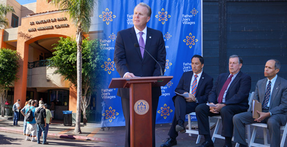 <span>City's Interim Housing Program Success</span><br>Mayor Kevin Faulconer and Councilman Todd Gloria announce that the City of San Diego's 350-bed interim housing facility is on track to serve 2,700 homeless San Diegans – 1,400 more than the temporary winter shelter tents it replaced. Watch Video 11.20.15