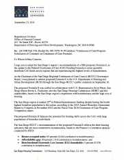 San Diego Housing Commission letter to U.S. Department of Housing and Urban Development – Homelessness Funding Formula Public Comment