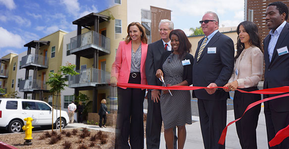 <span>College Area Affordable Housing Opens</span><br>Mesa Commons, an SDHC partnership development with Palm Communities, provides 77 affordable apartments near San Diego State University for low-income families. Watch Video 5.20.15.
