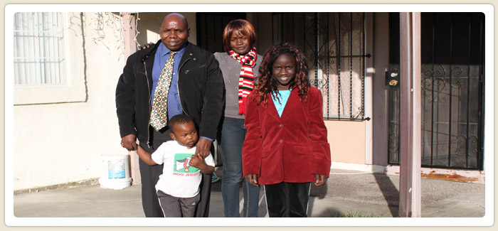 <span>New Homeowners</span><br>Owonda and his family of 8 became first time homeowners in May 2011. They found a home that had a big kitchen and patio for their needs.