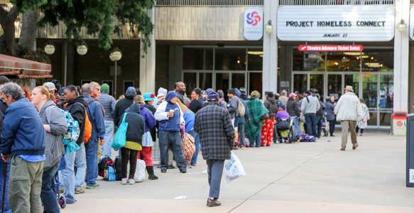 <span>Project Homeless Connect – 1,215 San Diegans</span><br>Homeless San Diegans were provided with access to services at The 10th Project Homeless Connect, including dental and medical screenings, employment counseling, a hot meal, and DMV-issued ID cards. 1.27.16