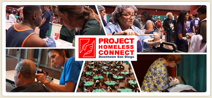 <span>Project Homeless Connect Serves 1,145 San Diegans</span><br>The 9th Project Homeless Connect provided homeless San Diegans with a range of services, including a hot meal, flu shots, housing and employment counseling, and ID cards from the State DMV.