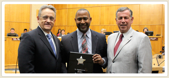 "<span>""In Appreciation""</span><br> 2011 Excellence Award from the Pacific Southwest Regional Council of the National Association of Housing and Redevelopment Officials was presented to City Council President, Tony Young by President & CEO Richard C. Gentry and Chairman of the Housing Commission Board, Gary Gramling.06.21.11"