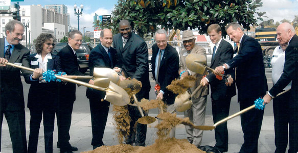 Groundbreaking in 2004 of Smart Corner, the headquarters of the San Diego Housing Commission.