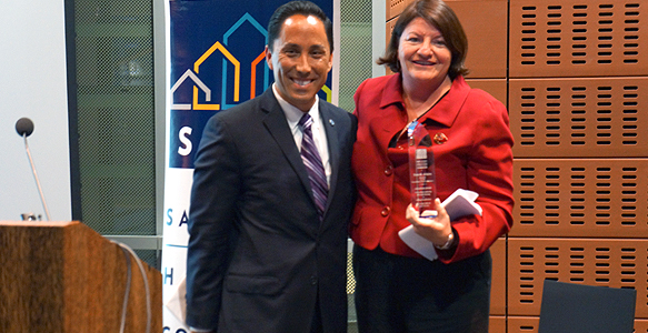 <span>SDHC Award to Toni Atkins</span><br>The San Diego Housing Commission (SDHC) honored Speaker of the California State Assembly Toni Atkins with its first-ever Champion Award for outstanding leadership in affordable housing and ending homelessness as SDHC celebrated its 35th Anniversary.  Read news release 10.30.14.